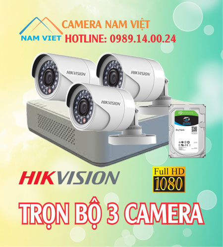 Bộ 3 camera hikvision 2mp
