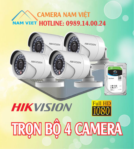 Bộ 4 camera hikvision 2mp